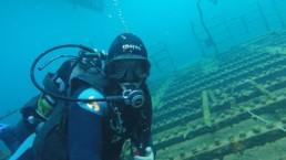 Diver exploring shipwreck in Santorini island