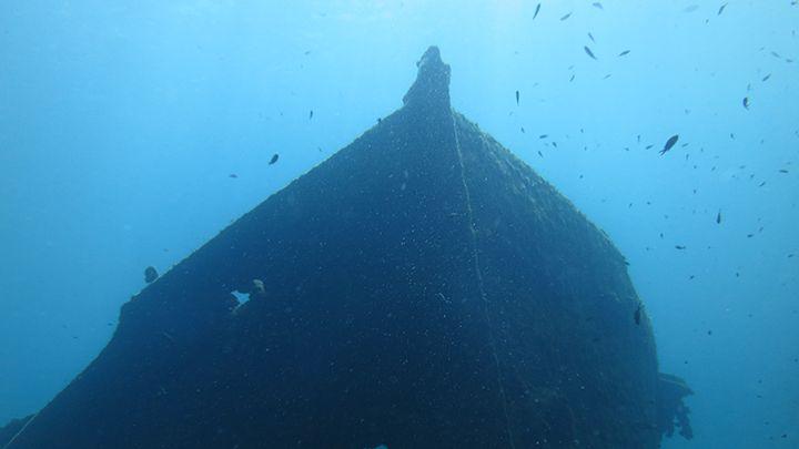Shipwreck in Santorini's sea bottom